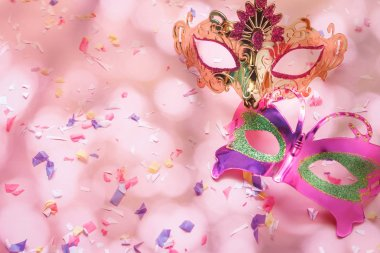 Table top view aerial image of beautiful couple carnival mask ba