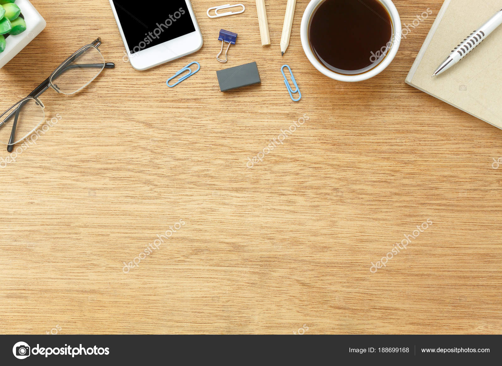 Charmant Table Top View Aerial Image Stationary On Office Desk Background  Concept.Flat Lay Objects The Cup Of Coffee With Essential Accessory.