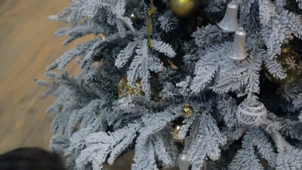 A person decorates the Christmas tree in the room before the holiday.