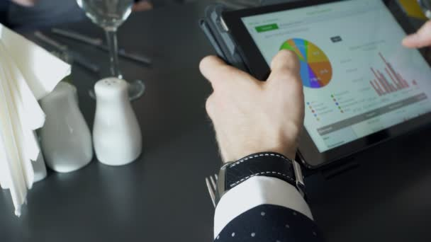 Close up hands of worker discussing business with tablet in cafe