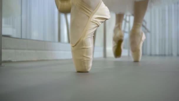 2752c0627 Dos bailarines se están moviendo en los zapatos del pointe en estudio de  ballet