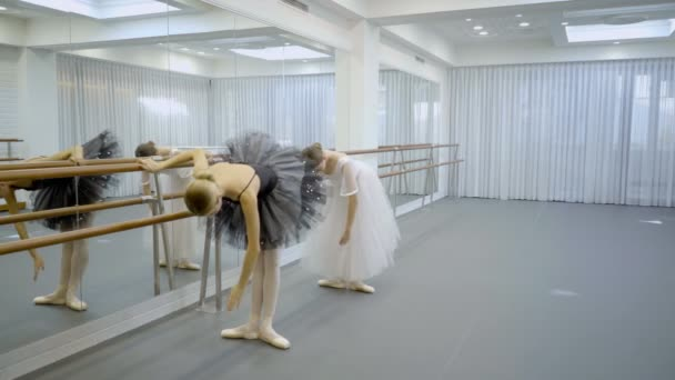 Schöne Ballerinen üben in der Nähe von Barre im Ballettstudio.