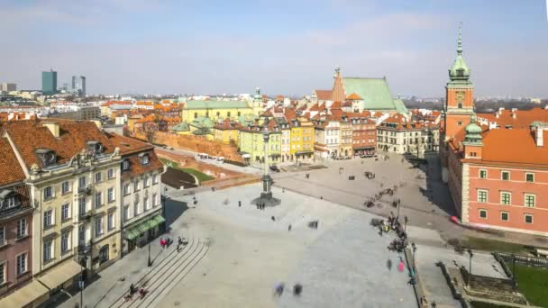 Aerial cityscape timelapse of Castle square in Warsaw, Poland