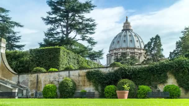 Close-up Timelapse of Saint Peters basilica Dome from Vatican Museum backyard, Vatican city. Rome, Italy