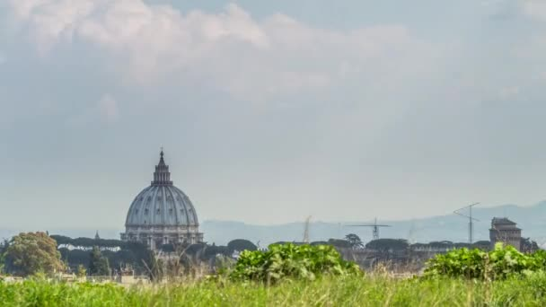 Long shot timelapse of Saint Peters basilica Dome, Vatican, Rome