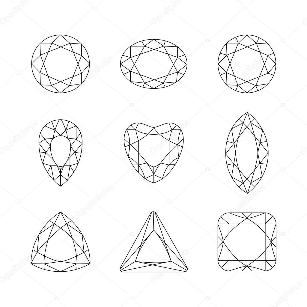 diamanti  reticoli di vettore di sfaccettatura di pietre preziose su un backgrou bianco