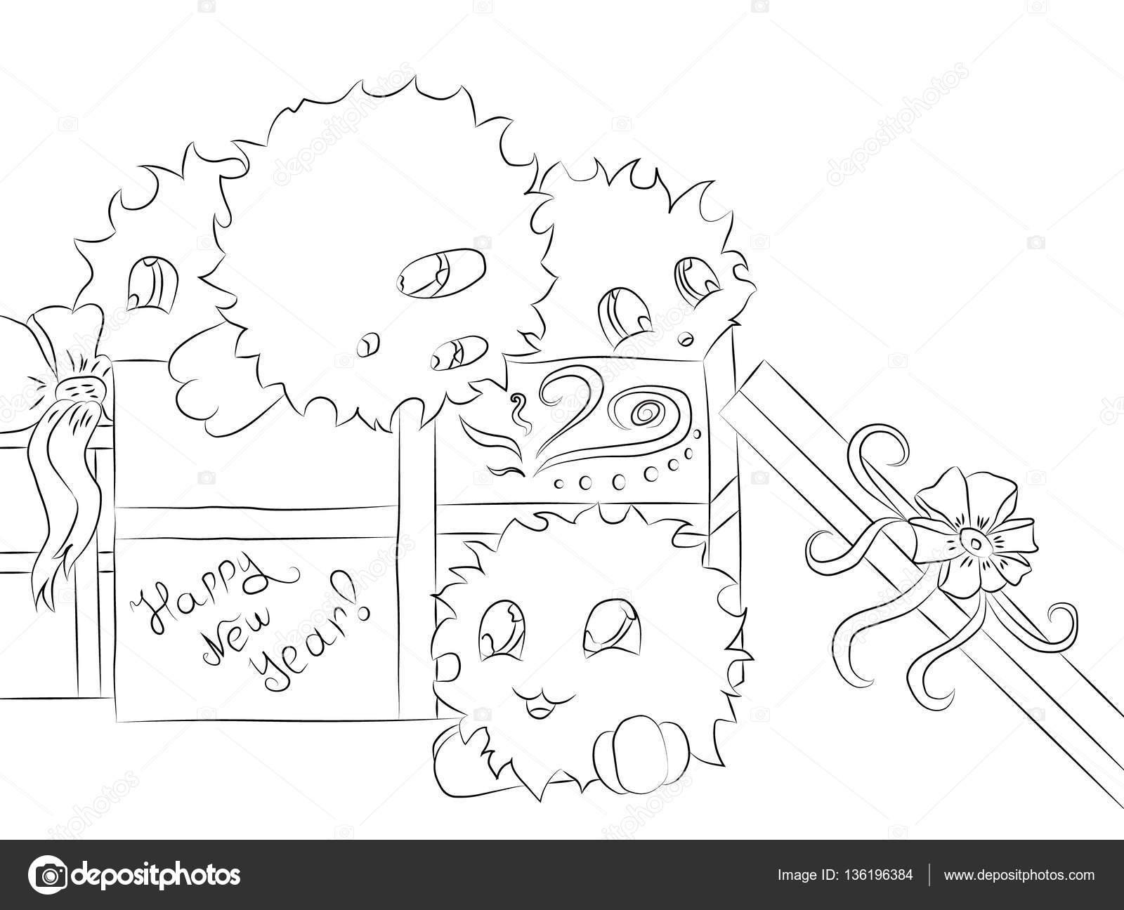 Vier Leuke Monsters Gift Box Kerst Kleurplaat Boek Stockvector