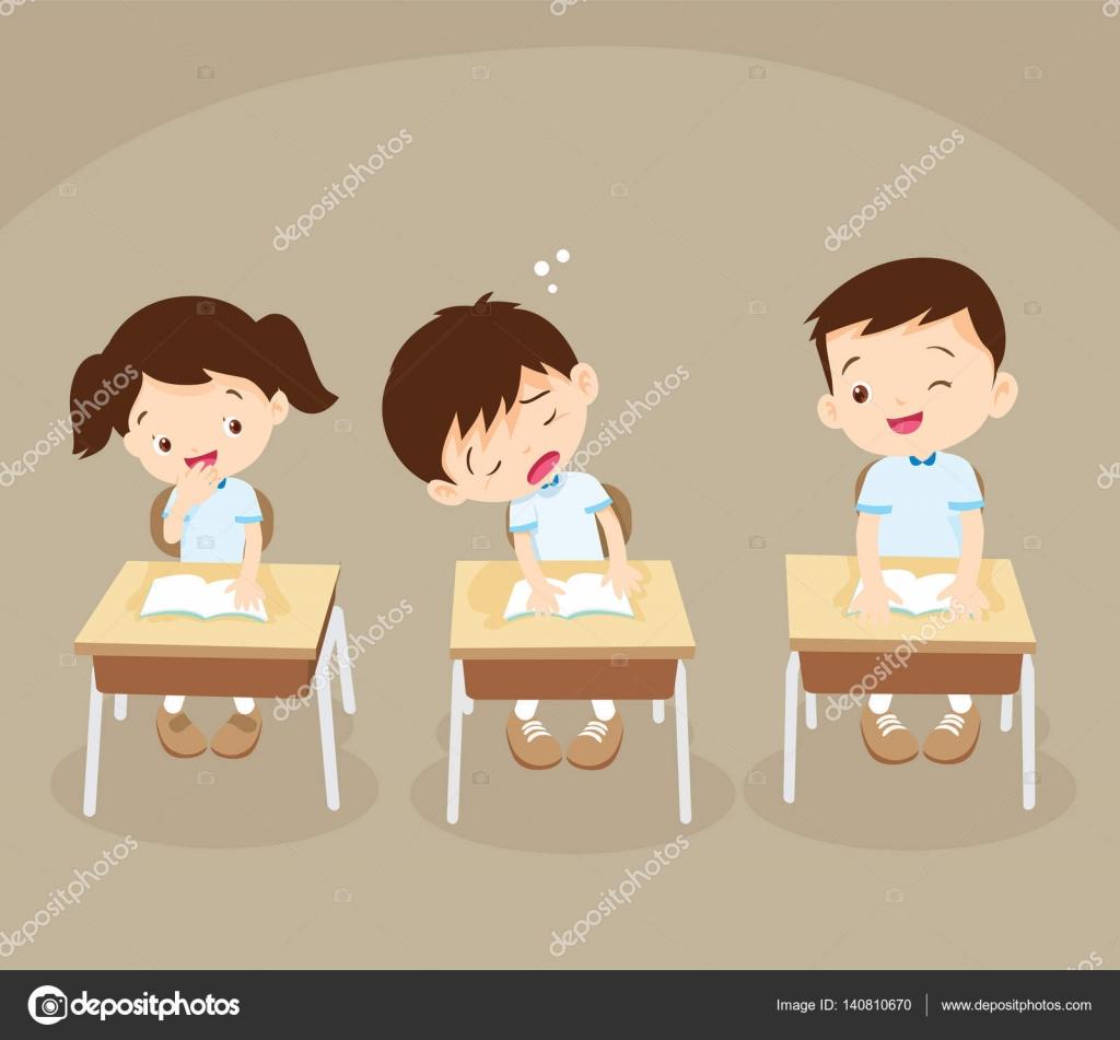 Animado Niño Dormido En Clase Niño Estudiante Durmiendo En Clase