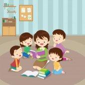 Fotografie teacher reading for kids
