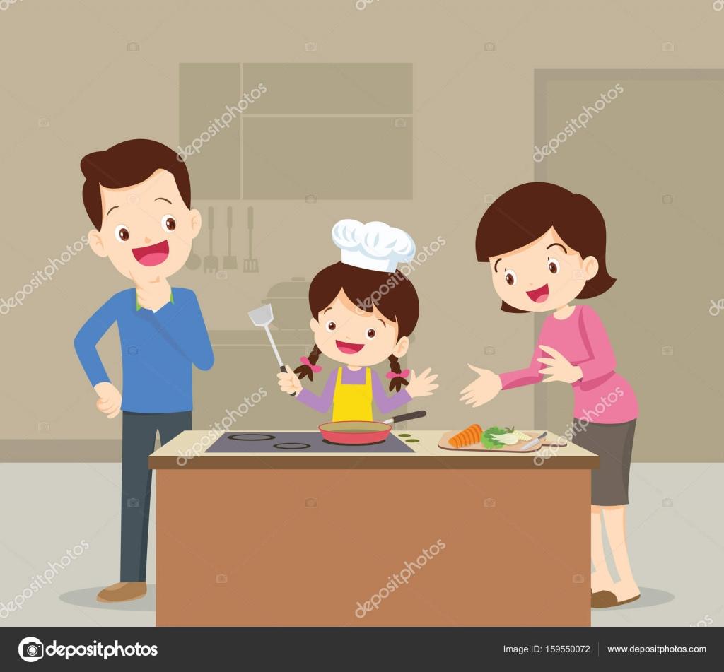 Familia e hija cocinando vector de stock watcartoon for La cocina de dibujos pdf