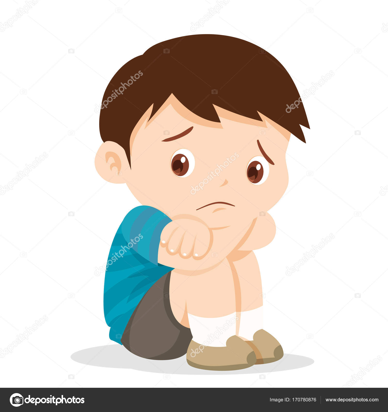 Sad boy sitting alone stock vector