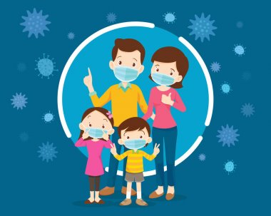 family wearing protective Medical mask for prevent virus.Dad Mom