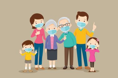big family  wearing a surgical mask to prevent virus