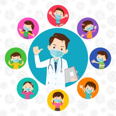 children and doctor wearing protective Medical mask from virus