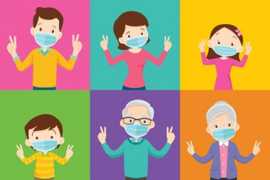 family and grandparent wearing protective Medical mask on colorful background family wearing protective Medical mask for prevent virus Covid 19