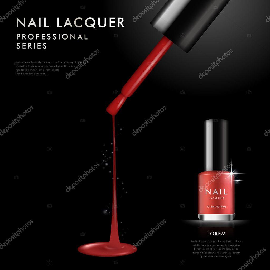 Plantilla elegante esmalte de uñas rojo — Vector de stock ...