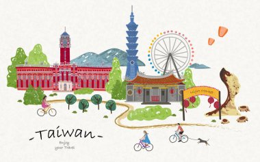 Hand drawn taiwan travel poster