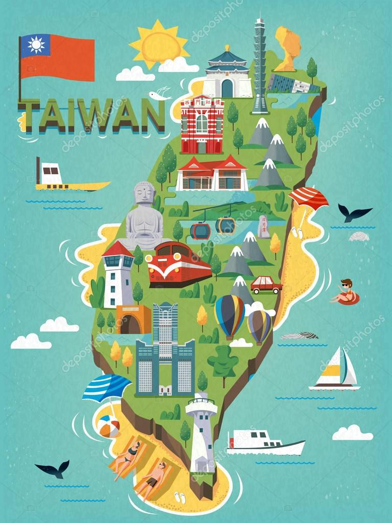 depositphotos_128905954 stock illustration taiwan travel map