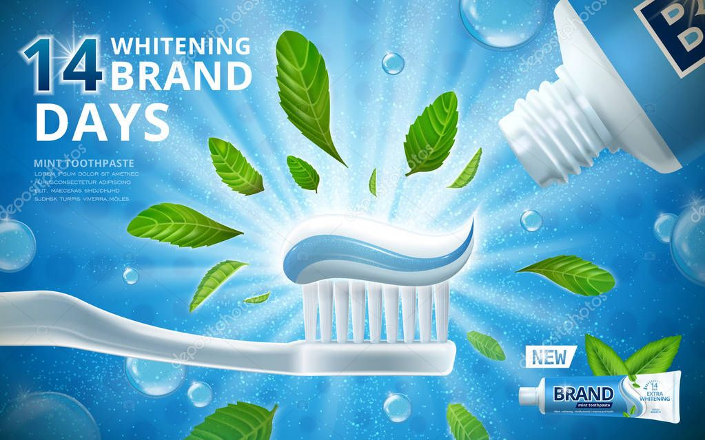 Toothpaste ads | Whitening toothpaste ads — Stock Vector