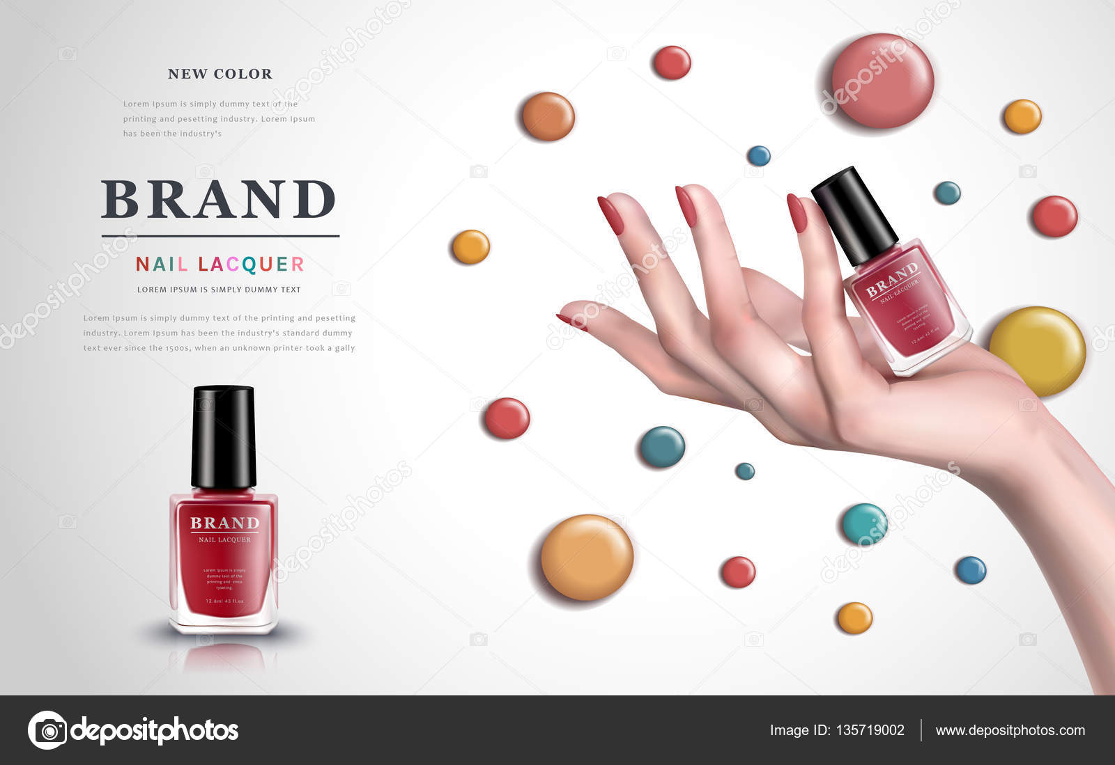 colorful nail lacquer ad — Stock Vector © HstrongART #135719002
