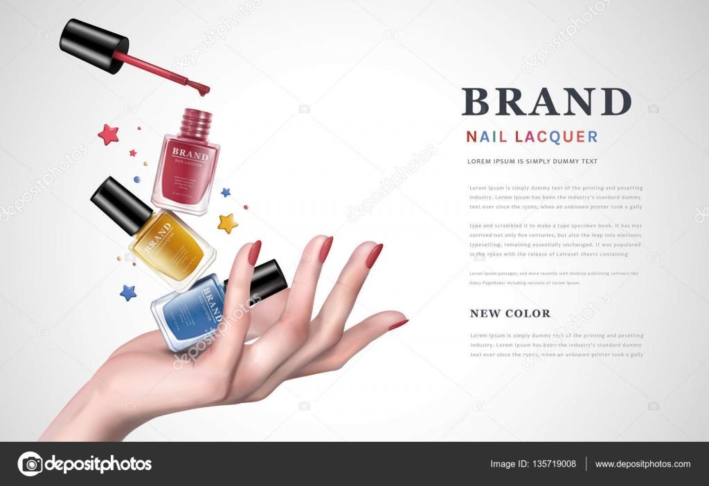 カラフルなネイル ラッカー広告 \u2014 ストックベクター