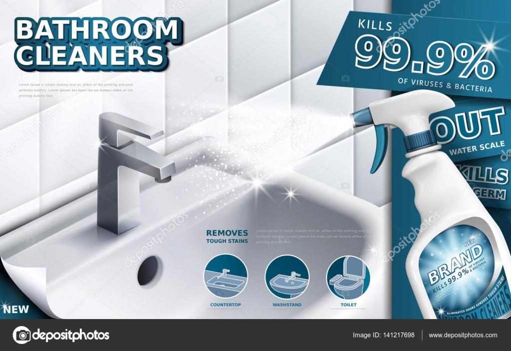 Anuncios de productos de limpieza de ba o vector de for Anuncios de limpieza