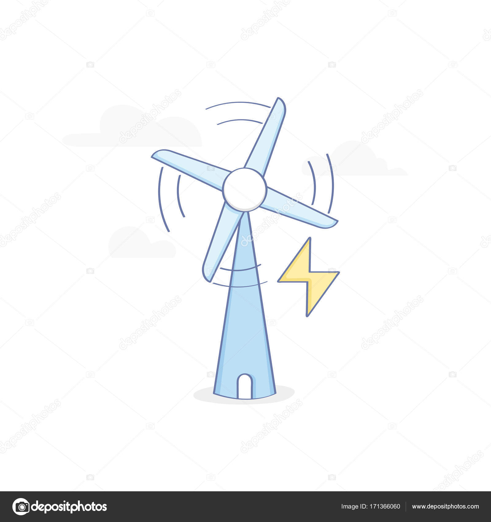 Eco Green Energy Wind Power Station Windmill Wind Turbine Symbol