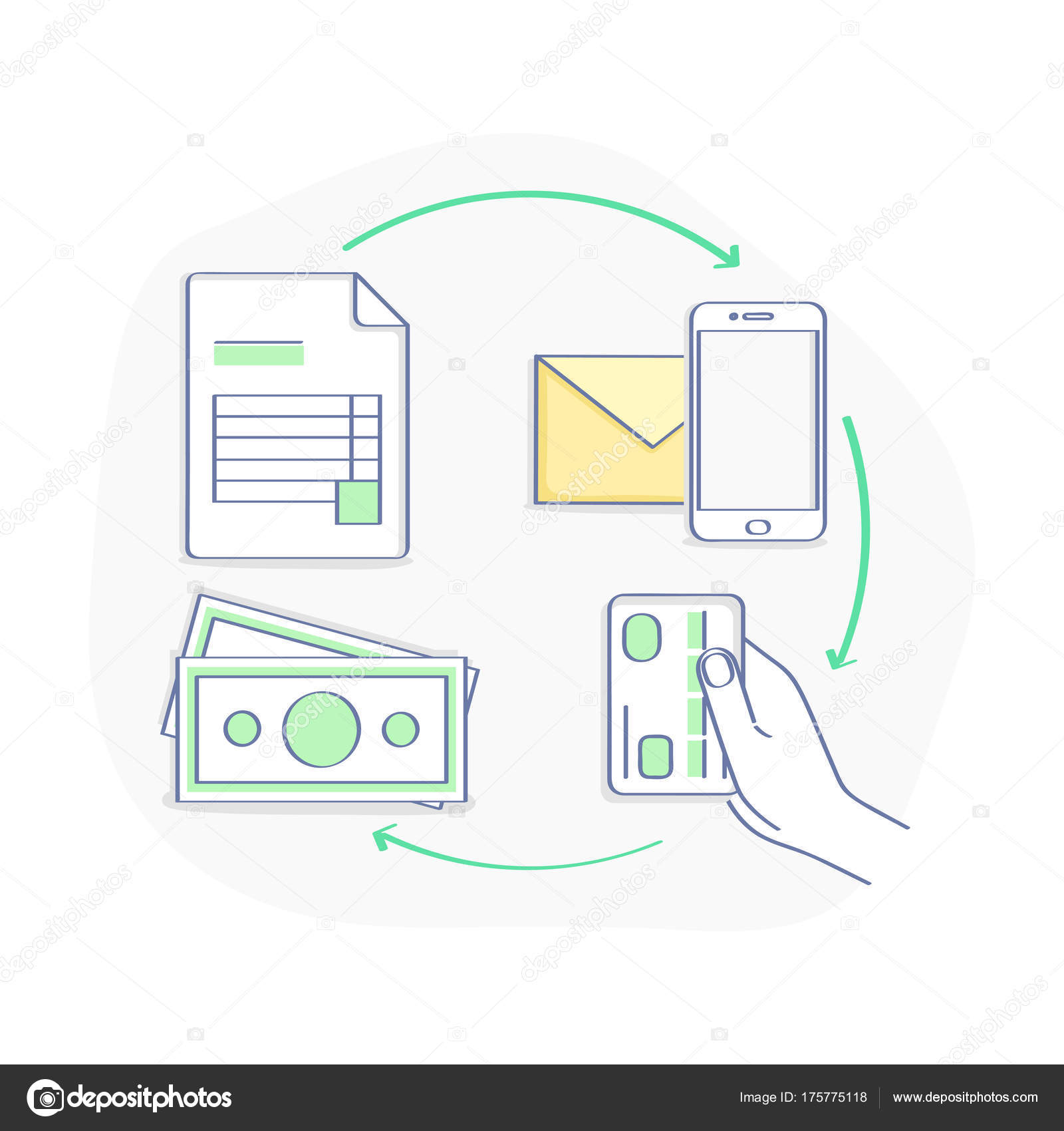 Invoicing Payment Online Illustration Concept Set Online Sale - How to prepare an invoice for payment