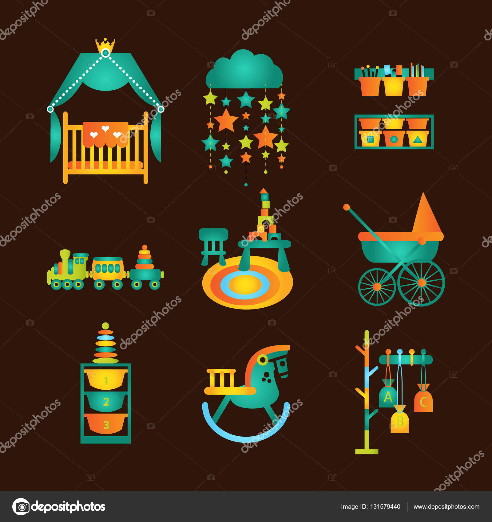 Kids and Nursery Furniture and Toys Set Flat style vector