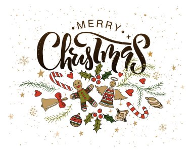decorations and calligraphic inscription Merry Christmas