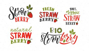 strawberry lettering typography