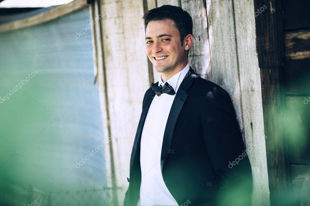 Cheerful happy groom