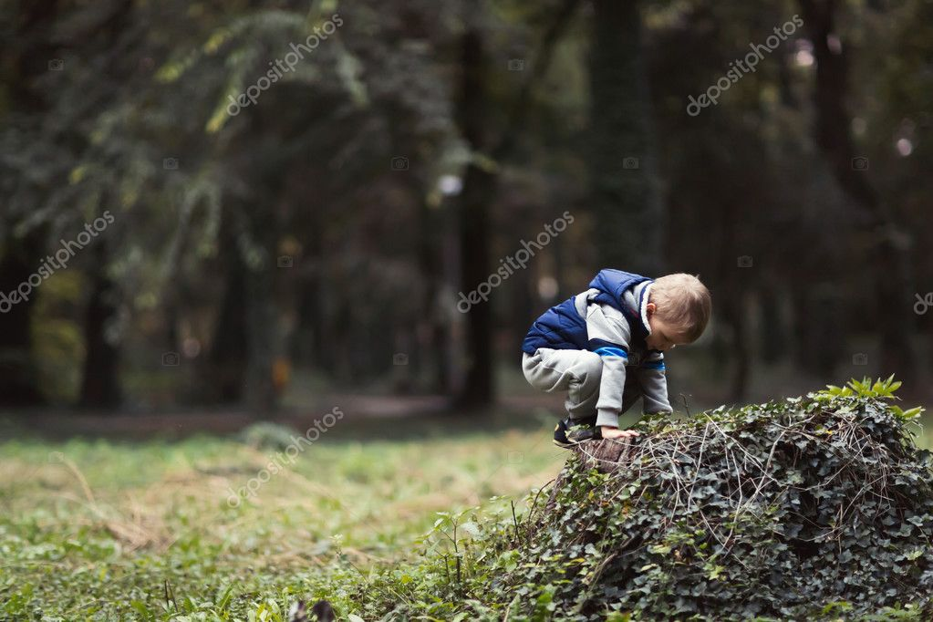Child climbing in park