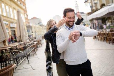 Beautiful girl surprises boyfriend