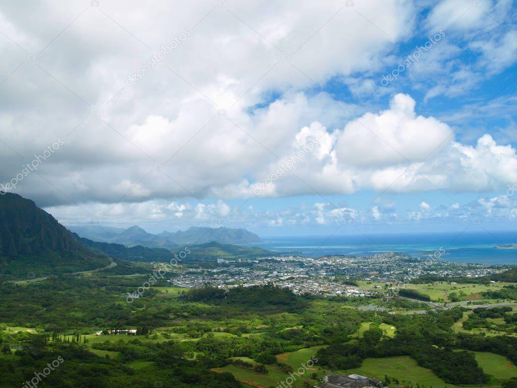 Beautiful scenery of a city in hawaii