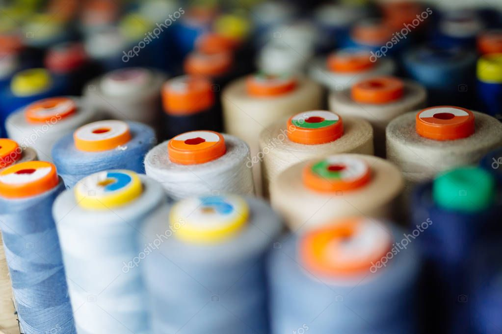 Colorful thread spools used in fabric industry