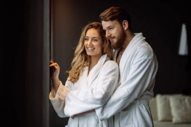 Couple in love enjoying wellness weekend