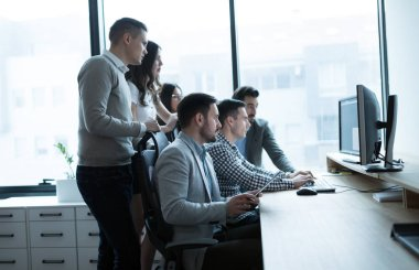 Group of business people and software developers working