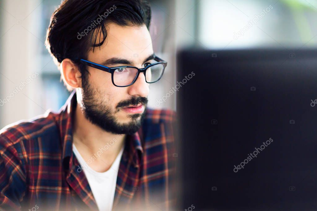 Programmer working at software developement company