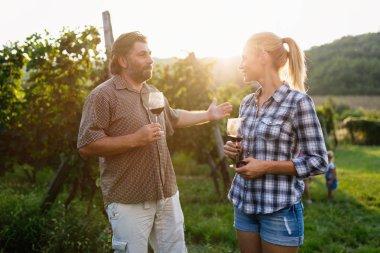 family tasting wine