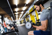 Photo Determined male working out in gym lifting weights