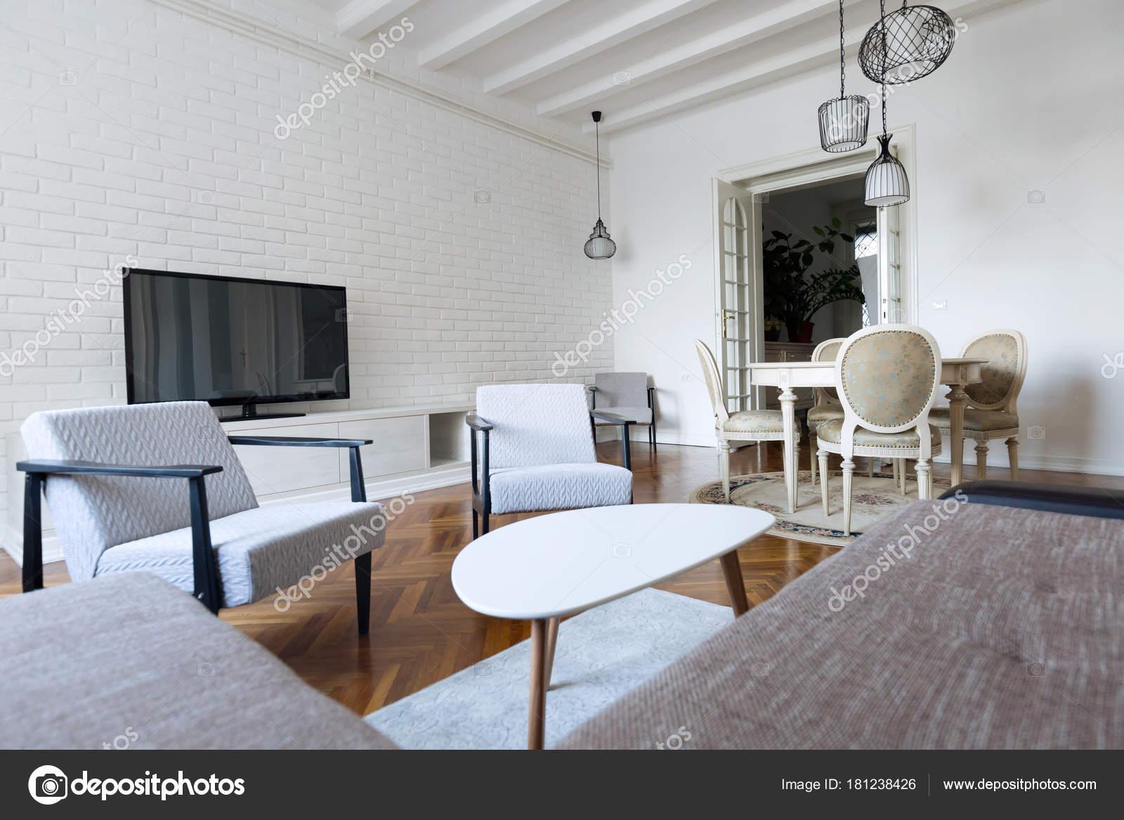 Interni Moderni Soggiorno Con Arredamento Moderno — Foto Stock ...
