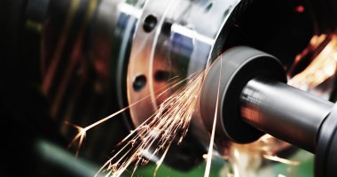 machine tool in metal factory equipped with automatic drilling cnc machines