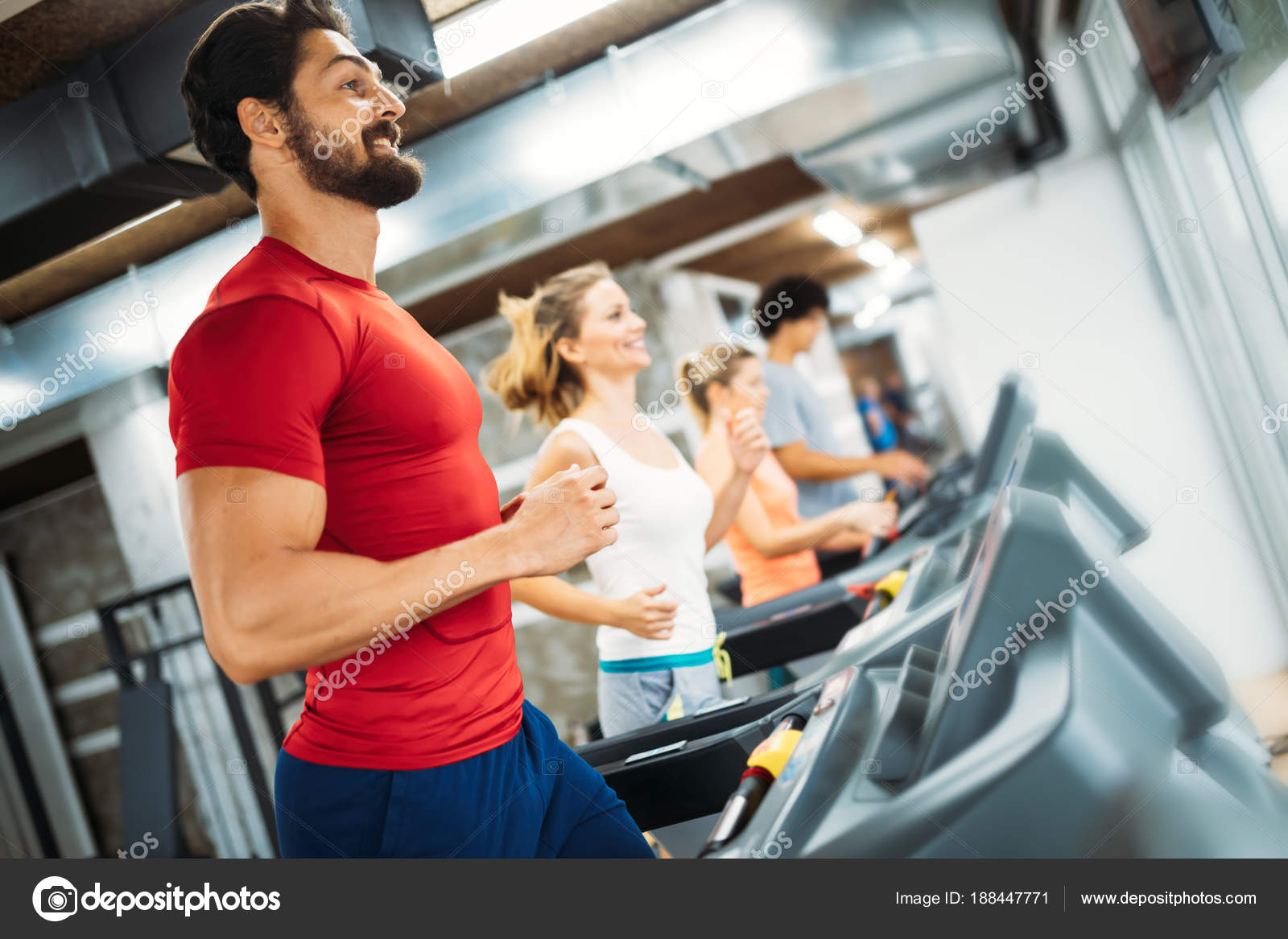Young Handsome Man Doing Cardio Training Treadmill Gym Stock Photo