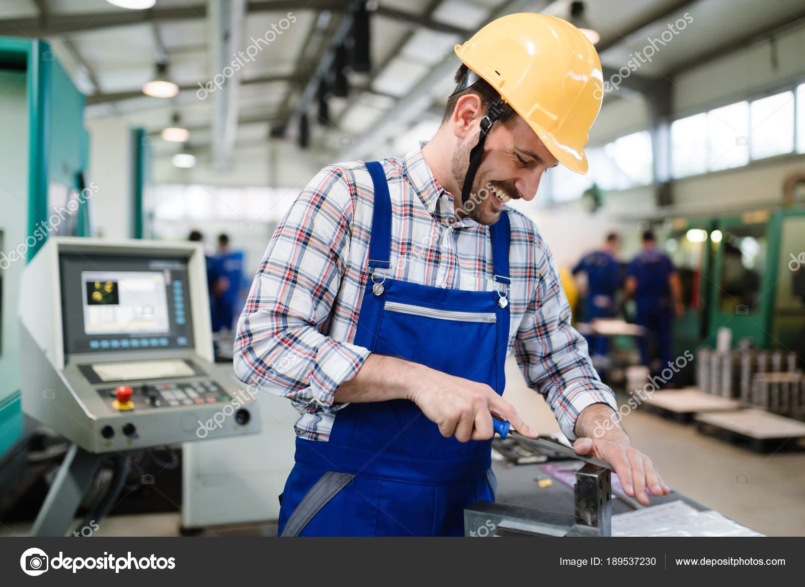 Industrial Factory Worker Working Metal Manufacturing