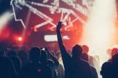 Zujubelnden Masse mit den Händen in der Luft genießen beim Musikfestival