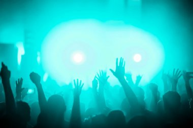 Cheering crowd with hands in air enjoying at music festival