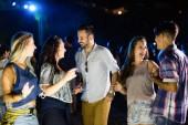 Skupina mladých, happy přátelé baví čas spolu na hudebním festivalu