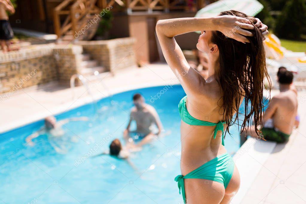 Beautiful Sex Girl Enjoying Summer Vacation Swimming Pool