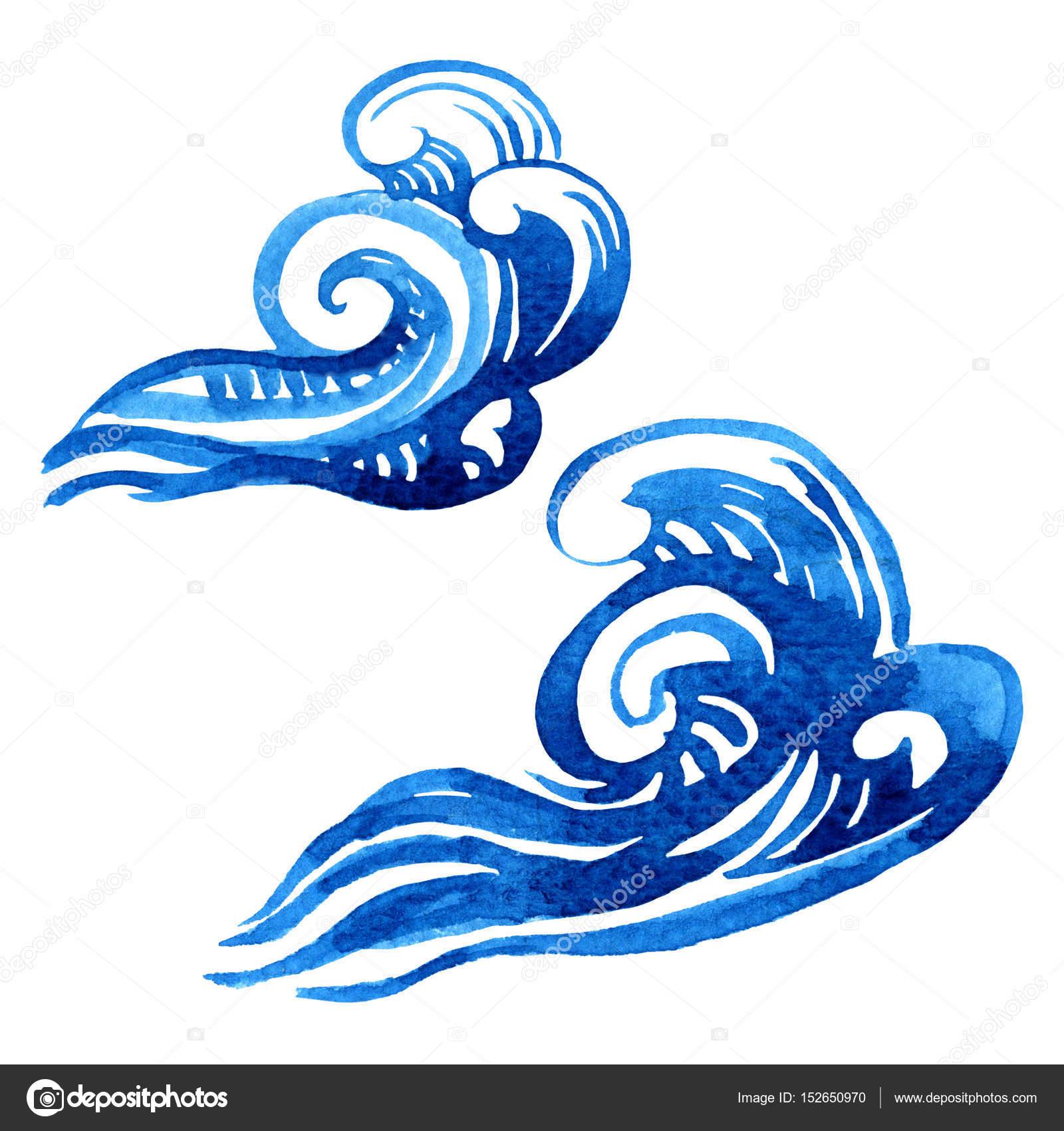 Aquarelle Stylisee D Une Vague De La Mer Deux Elements De Dessin
